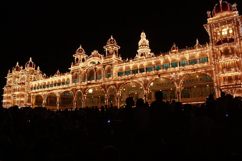 Mysore Palace during the Festival of Desara, Mysore, India
