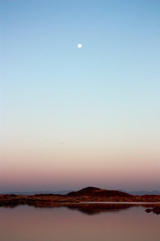 A sunset moon, Namib Desert, Namibian