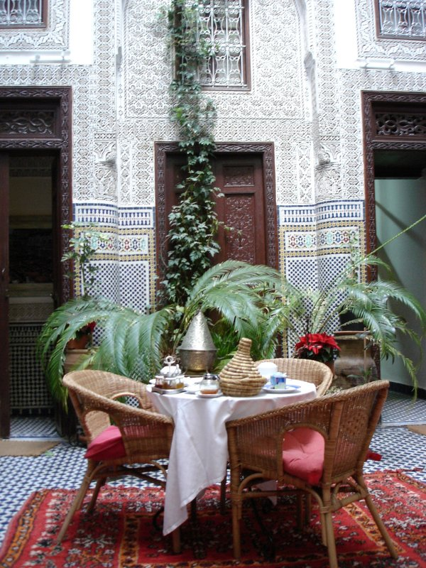 Central courtyard in our Fes Riad