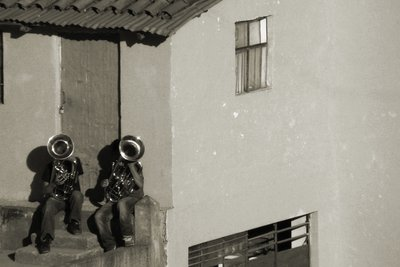 Tuba players in Cusco, Peru