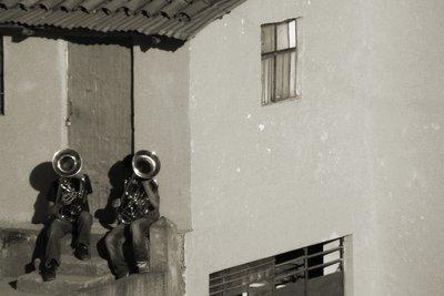 Tuba players in Cusco, Peru