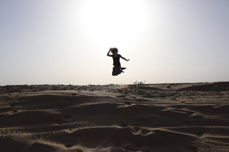 Jumping in the dessert