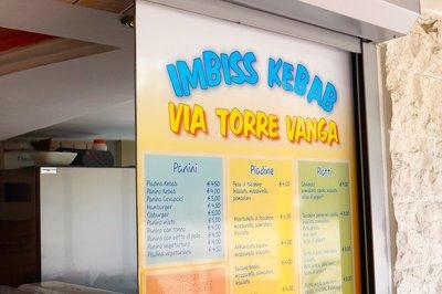 Kebab stand menu