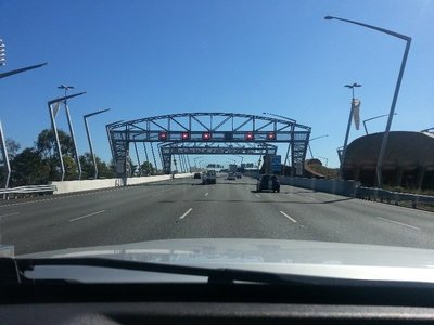 Approaching Brisbane's Gateway Bridge