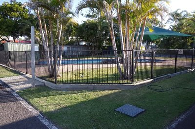 Our swimming pool at Dicky Beach Caravan Park