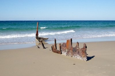 Wreck of the SS Dicky slowly rusting away