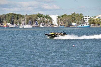 Jet boat heading up the Broadwater