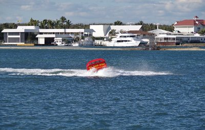 Jet boat completing a tight turn