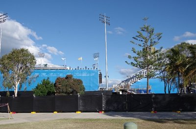 Temporary stands for the Pan Pacs Swimming