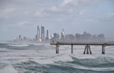 Surfers Paradise behind the sand pumping jetty