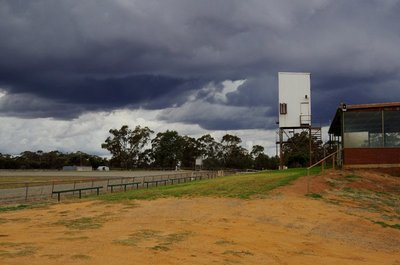 Ominous cloud over the West Wyalong Showground - but no rain