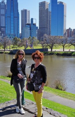 Kirrily and Di with the Phoenix Building in the background
