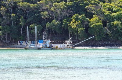 Dredge moored in Tallebudgera Creek