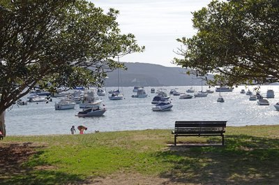 Boats moored in Hunters Bay from Balmoral Beach