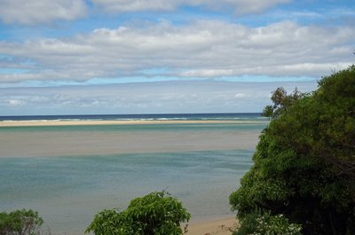 View across Mallacoota Inlet to the sea.