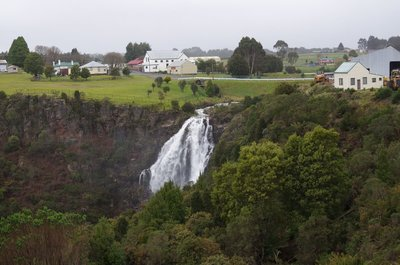 The waterfall in the middle of the Waratah township.