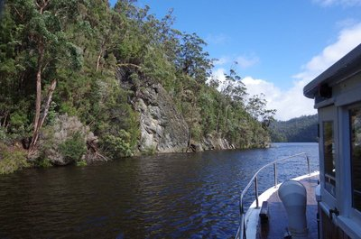 This rock wall was considered as a site for a dam on the Pieman River