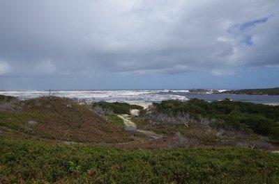 Looking towards Pieman Heads over the dunes