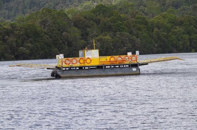 The Fat Man heading across the Pieman River for customers.