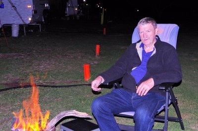 David enjoying the fire-pot.