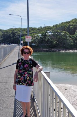 Di on the bridge over Tallebudgera Creek.