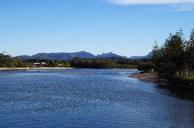 Looking up Tallebudgera Creek towards the mountains.