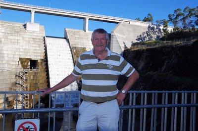David in front of the Hinze Dam Spillway.