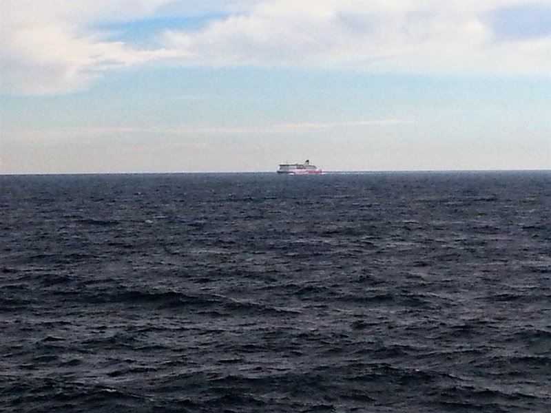 The other Spirit at a closing spead of 50 knots (90 kph) in mid Bass Strait.