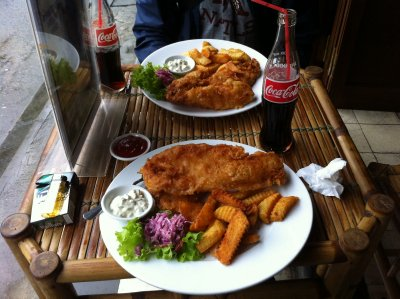 The nicest fish and chips I've ever had, either at home or abroad. There were two whole fish to eat but as it was so nice I devoured the lot!
