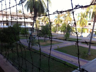 Barbed wire covering the sides of the second and third floors stopped people from commiting suicide