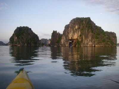 View while kayaking on Halong Bay