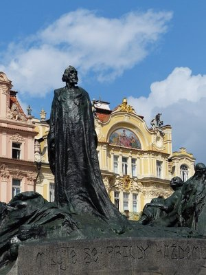 Memorial to John  Hus in Old Town Square Prague