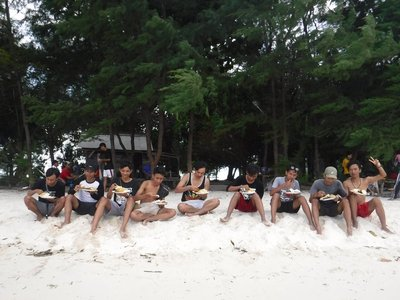 A group of young men from Jakarta on holiday