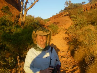 Sunrise hike at Kata Tjuta - fly net is such a fashion statement