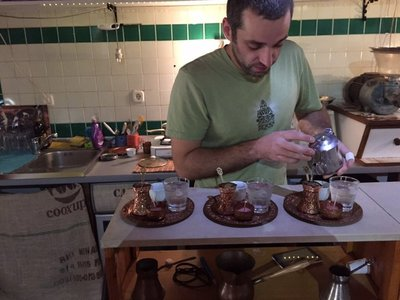 Jaz (yaz) making us Bosnian coffee
