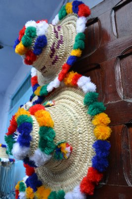 Berber ladies' hats for sale in Chefchaouen