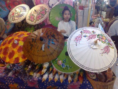 Parasols for sale in Chiang Mai night market