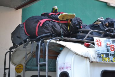 Our bags on top of the veg truck