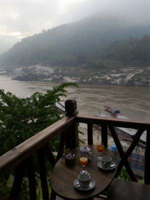 Breakfast overlooking the Mekong at Pak Beng, Laos