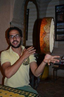 Drumming in our riad, Marrakesh