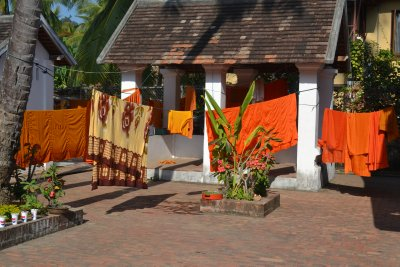 Monks&#39; robes drying in sunshine, Luang Prabang
