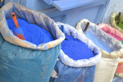 Chefchaouen - indigo powders used for blue wash