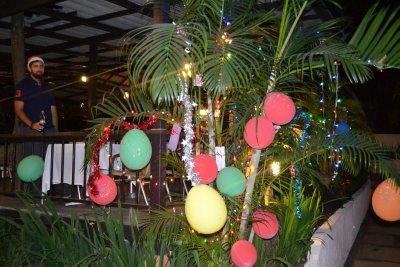 Xmas decorations at restaurant in Pai