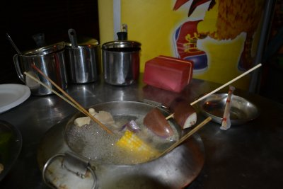 Cooking our 'steamboats' in China Town, KL