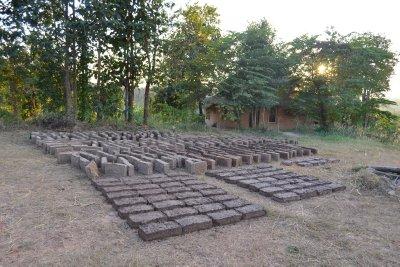 The mud bricks that we helped to make at Pun Pun