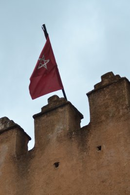 Chefchaouen - Moroccan flag over the Kasbah