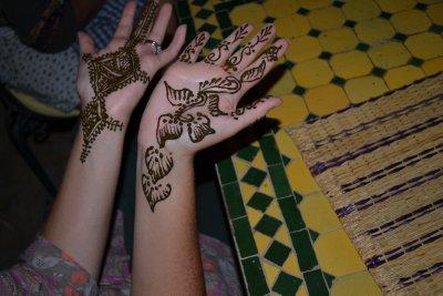 Sophia's henna. One arabic, one berber design