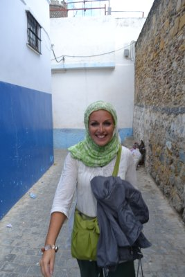 In the kasbah of Tangier trying to run from a tourguide we didn't want to use!