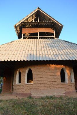 Mud brick building at Pun Pun