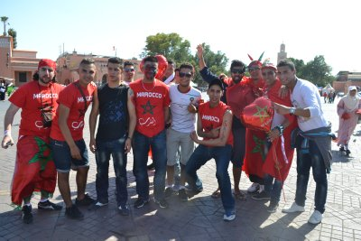 Sully with Morocco supporters before the match